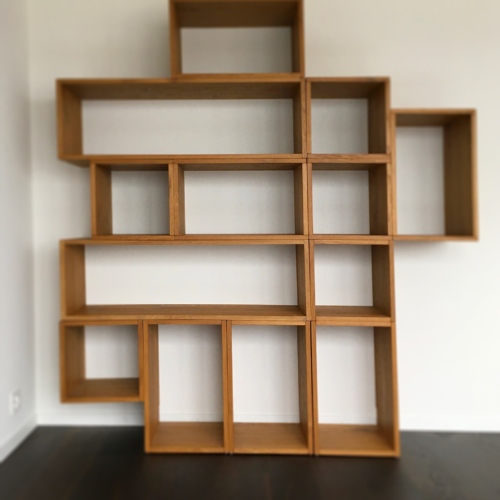 Büchergestell 02, Gebranntes Holz, Antik, 2017