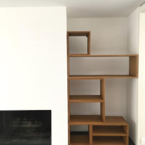 Büchergestell 04, Gebranntes Holz, Antik, 2017